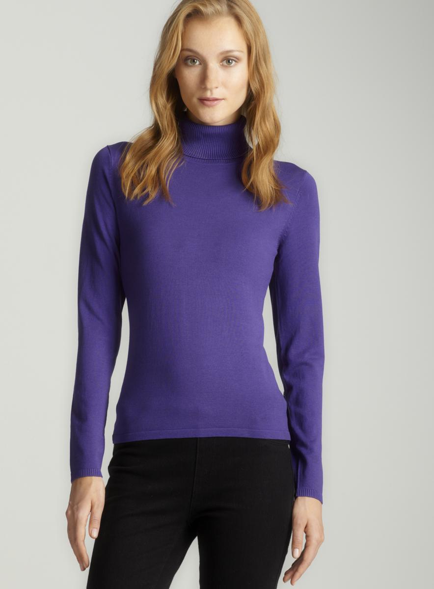 August Silk Purple Silk Turtleneck