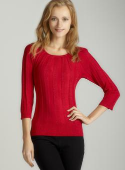 Joseph A 3/4 Sleeved Lurex Sweater