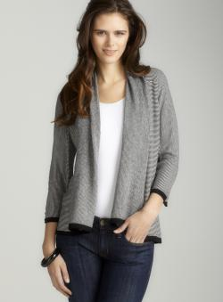 Tracy M Striped Open Front Cardigan B
