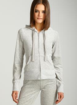 Romeo & Juliet Skull Velour Hoodie In Grey