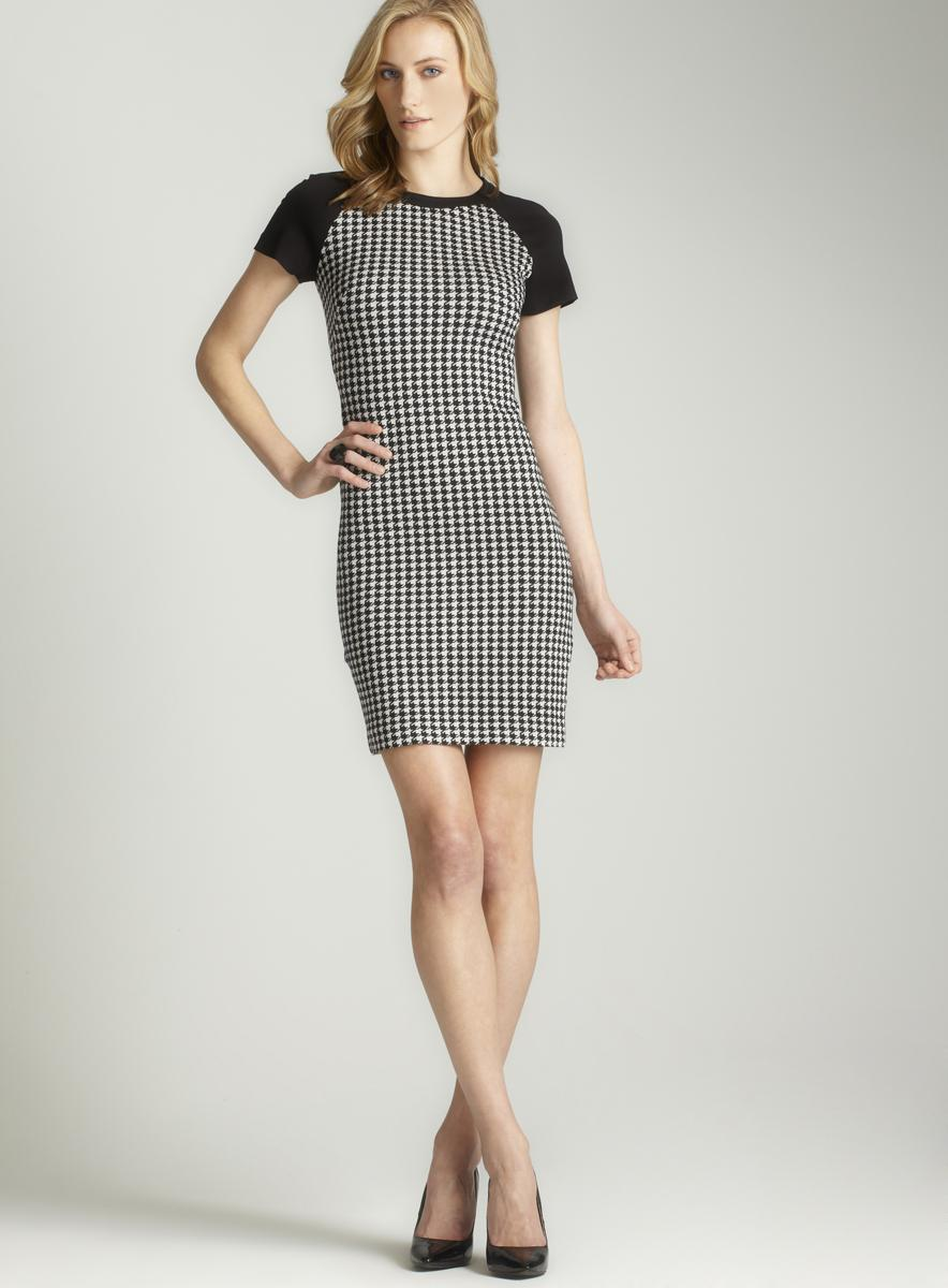 Taylor Women's Houndstooth Raglan Sleeve Sheath Dress