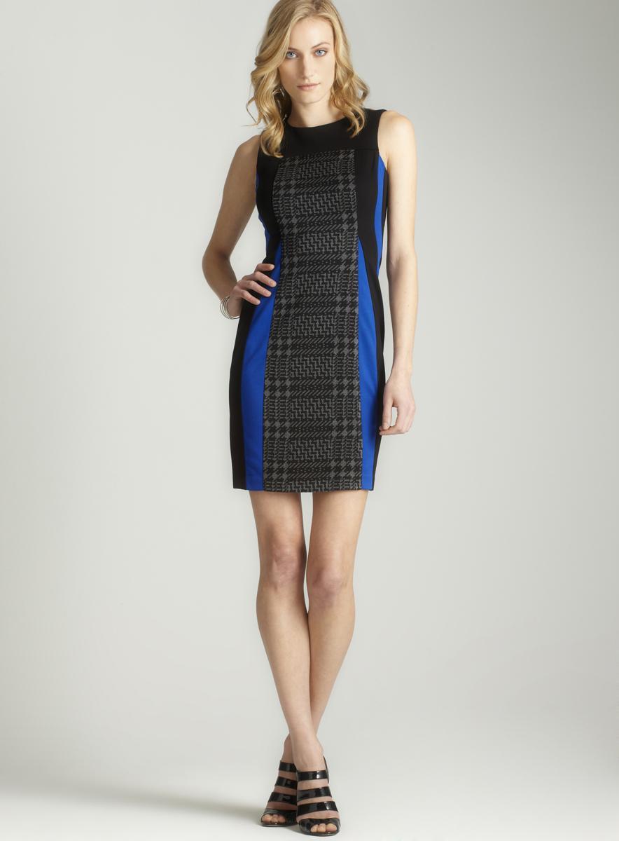 Taylor Women's Plaid Front/ Royal Color-block Sheath Dress