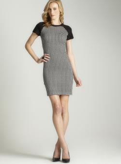 Taylor Women's Houndstooth Raglan Sleeve Sheath Dress