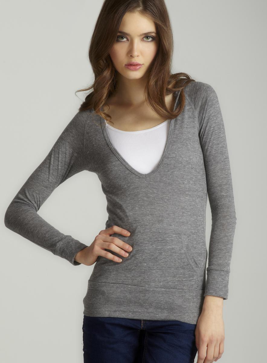 Alternative Eco grey l/s deep v hoodie