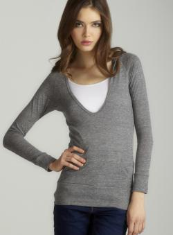 Alternative Eco grey l/s deep v hoodie
