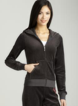 Juicy Couture L/S Velour Hoodie W/ Crown