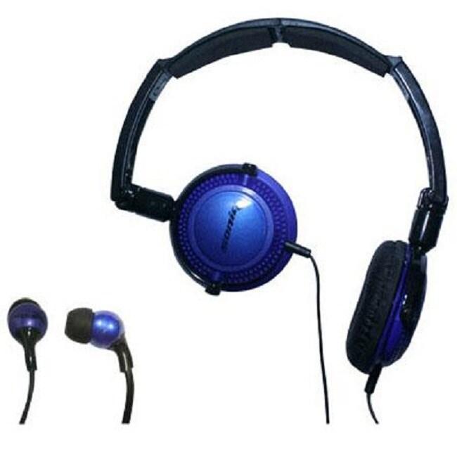 Soniq KABOOM! Headphone/Earphone Blue Combo Pack