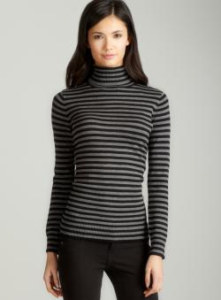 Joseph A Striped basic turtleneck