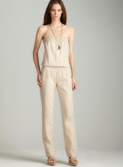 Planet Gold Linen jumpsuit in cali khaki