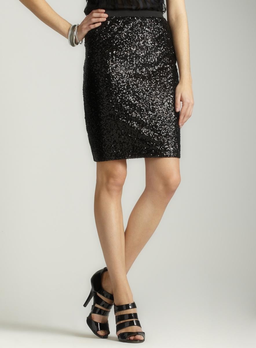 WDNY Black sequined pencil skirt