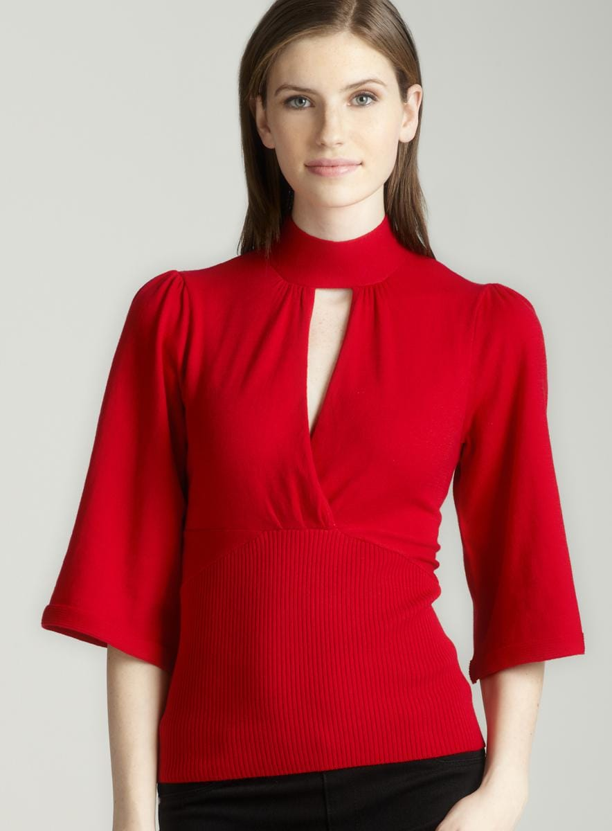 Tracy M Collar band sweater in scarlet
