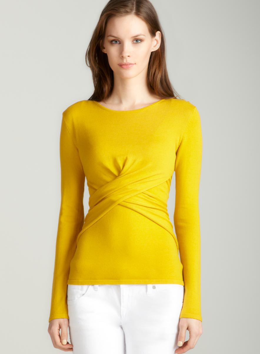 Tracy M Crossover pullover in golden
