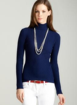 Tracy M Rib turtleneck in navy