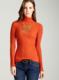 Tracy M Rib turtleneck in spice