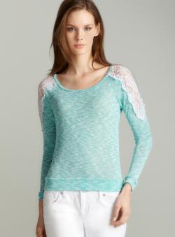 Pink Rose Crochet shoulder ls sweater