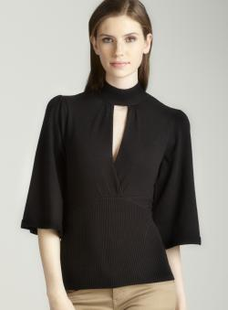 Tracy M Collar band sweater in black