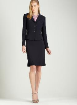 Tahari Navy skirt suit with pleating