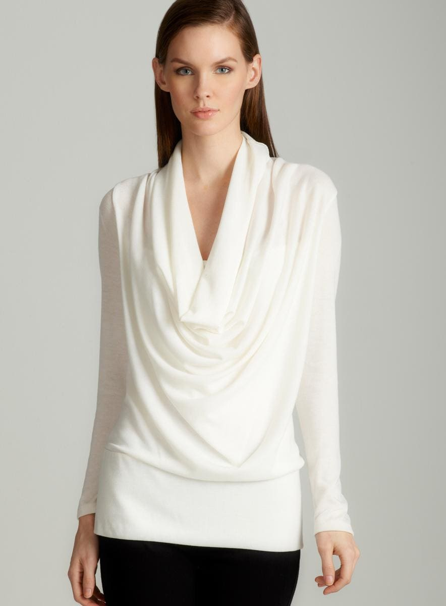 Annalee + Hope Cowl neck sweater in off white