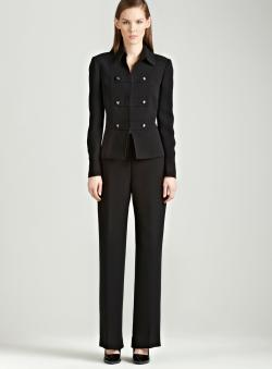 Tahari Black pants suit with seaming