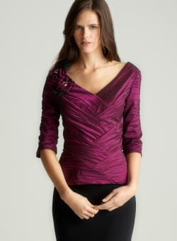 Km Collections Ruched Pleating Top
