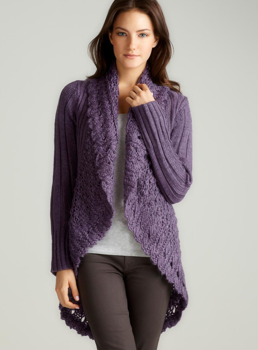 Milano L/S Shawl O/F Cardi W/Crochet