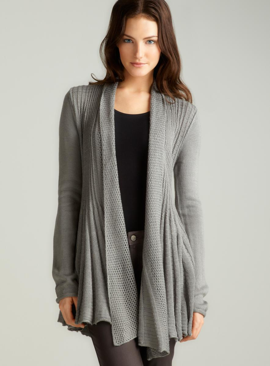 Sioni L/S Open Frnt Star Dtl In Grey