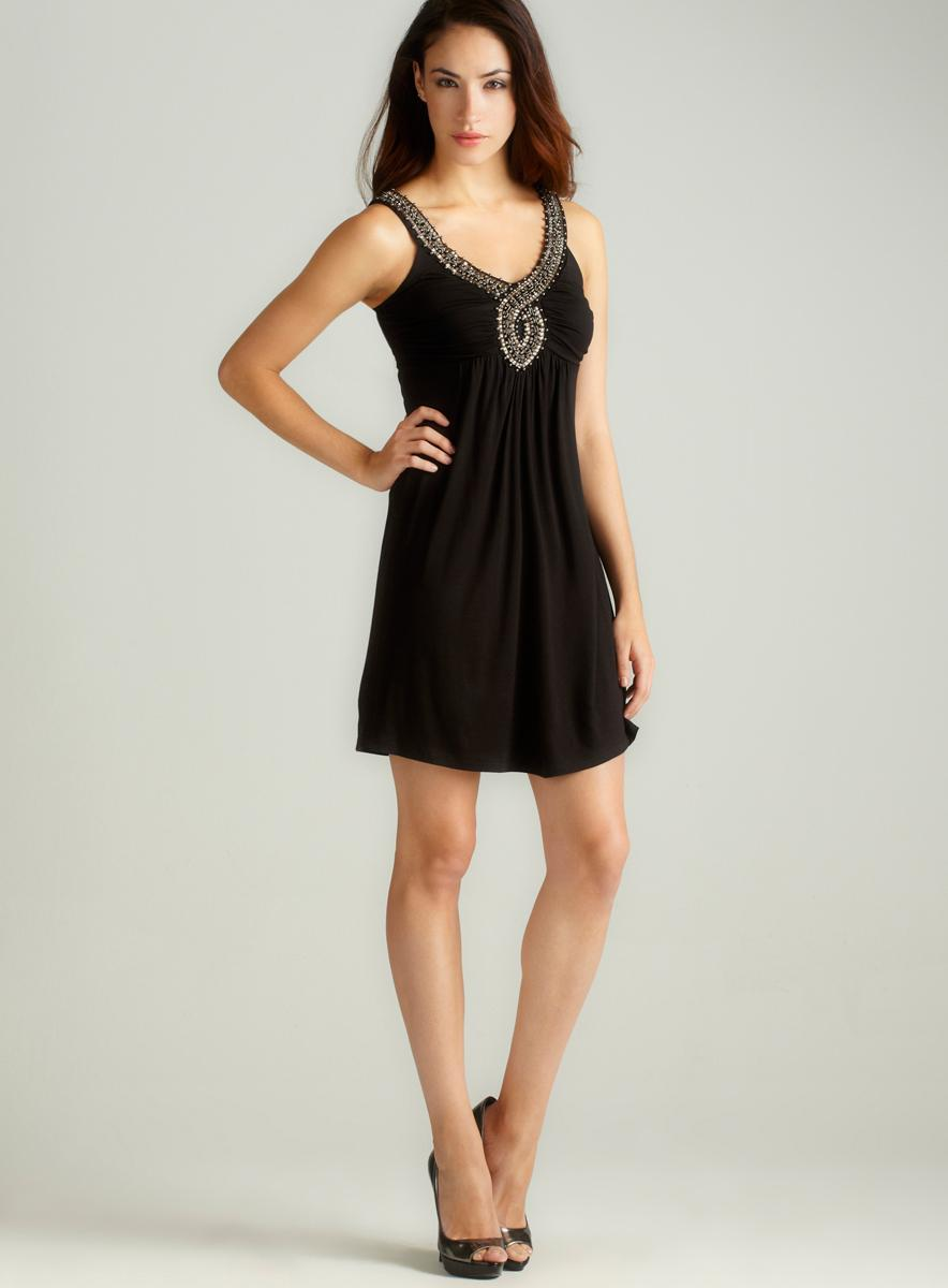 Soprano Beaded Detail Neckline Dress
