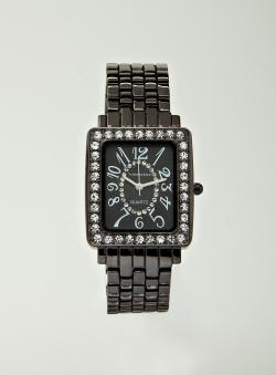 Vernier Ladies Black Rectangle Watch
