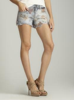Free People Floral Denim Cut Off Short
