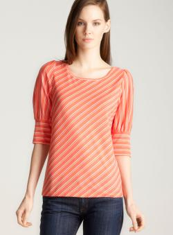 John Paul Richard Petite Bias Stripe Knit