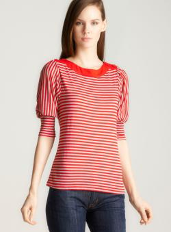 John Paul Richard Petite Horizontal Stripe Knit