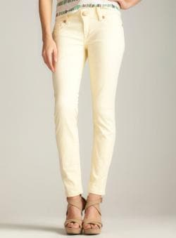 Seven 7 Roll Cuff Skinny In Paleyellow