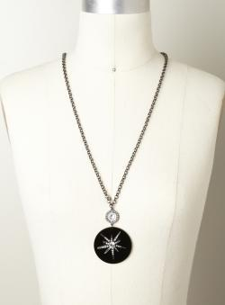 Punch Sunburst Disc Pendant Necklace