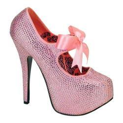 Women's Bordello Teeze 04R Baby Pink Rhinestones