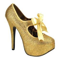 Women's Bordello Teeze 04R Gold Rhinestones