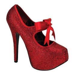 Women's Bordello Teeze 04R Red Rhinestones