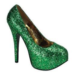 Women's Bordello Teeze 06G Green Glitter