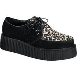 Men's Demonia Creeper 400 Black Suede/Cheetah Fur