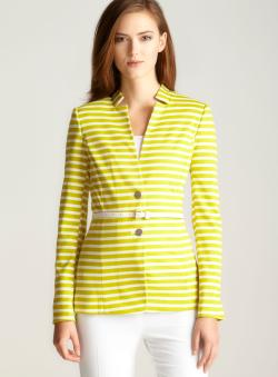 Calvin Klein Striped Ponte Belted Jacket
