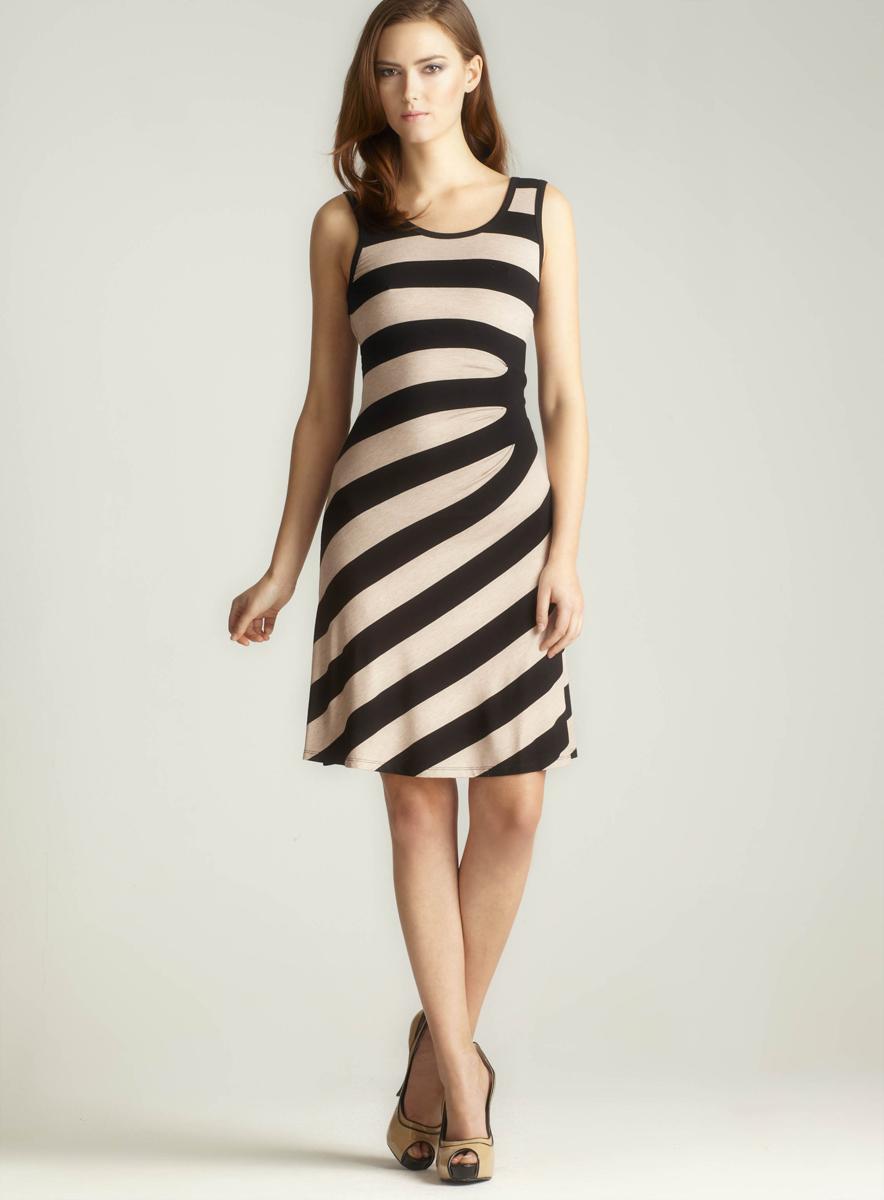 Calvin Klein Side Ruched Stripe Dress