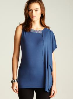 Love Moschino Asymmetrical Jewel Neck Knit