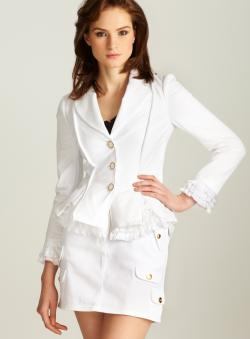 Love Moschino Ruffle Trim Three Button Blazer