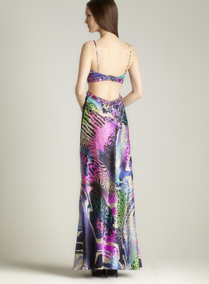 Cutout Waist Printed Gown