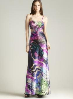 Cutout Waist Printed Gown