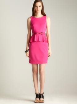 Carmen Marc Valvo Pencil Ponte Peplum Dress