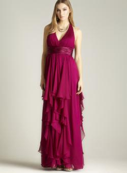 JS Collections Chiffon Ruffle Halter Gown