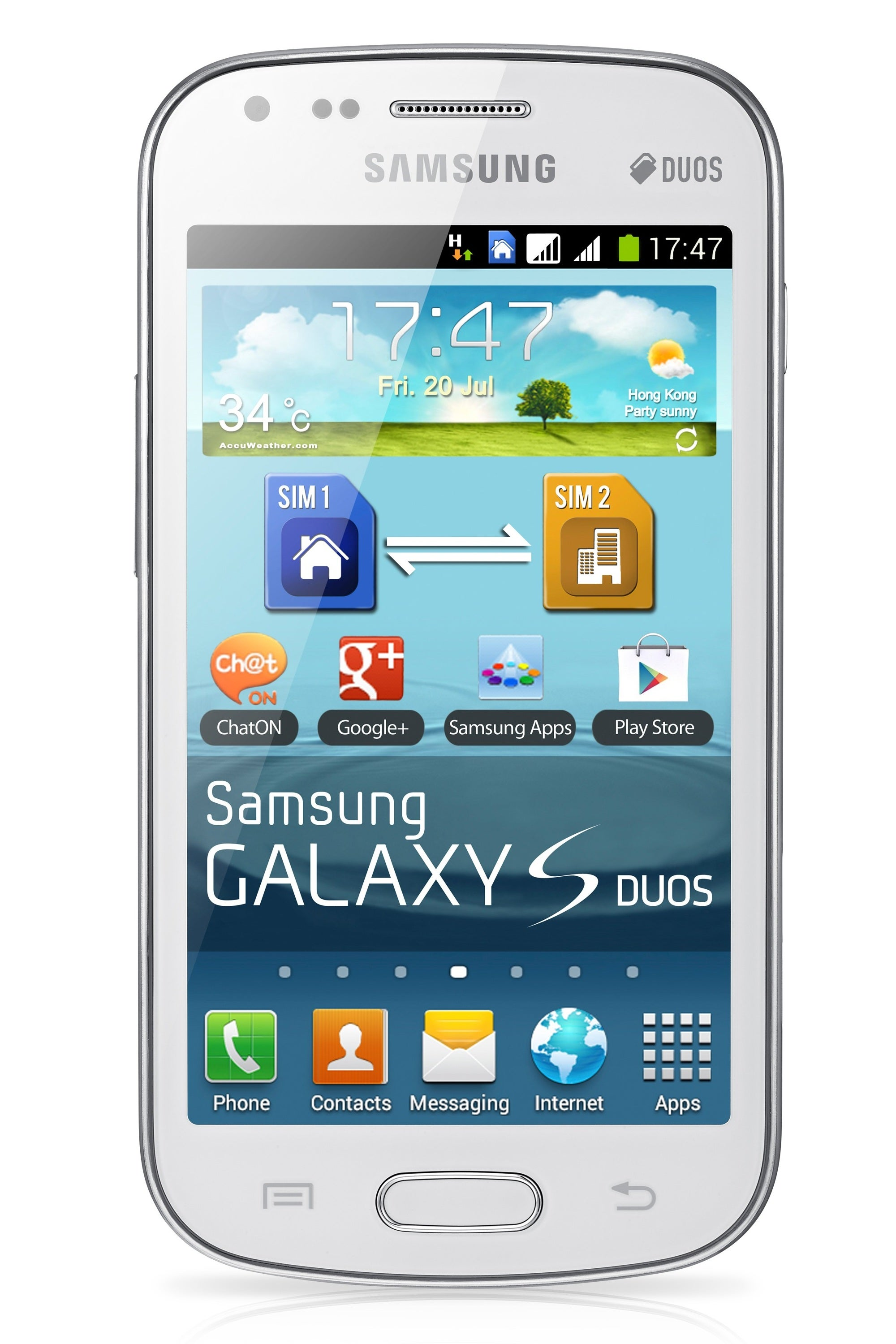 Samsung Galaxy S Duos S7562 GSM Unlocked Dual Sim Android Cell Phone -  White