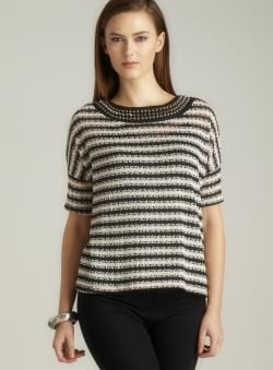 Romeo & Juliet Couture Stripe Studded Crochet Sweater