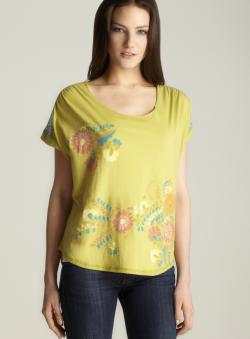 Scrapbook Floral Print Cap Sleeve Top