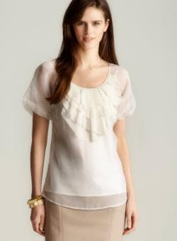 St. John Silk Organza Scoop Neck Blouse